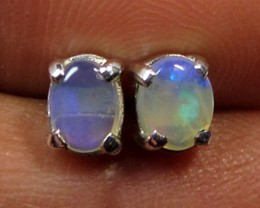 5x4 MM SOLID OPAL STERLING SILVER EARRINGS CF 604