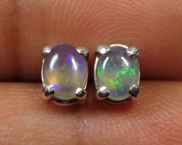 5x4 MM SOLID OPAL STERLING SILVER EARRINGS CF 606