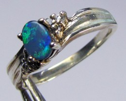 DOUBLET  OPAL WITH CZ IN  SILVER RING SIZE   7  CF649