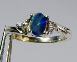 DOUBLET  OPAL WITH CZ IN  SILVER RING SIZE  6   CF651