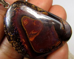 73 CTS SILVER BALE BOULDER OPAL PENDANT MMM 161