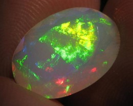 3.54ct Beautiful Faceted Ethiopian Opal With Extreme Fire!!