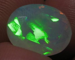 5.36ct Beautiful Faceted Ethiopian Opal With Extreme Fire!!