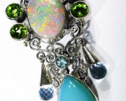 OPAL [STABILIZED} + ASSORTED GEM STONES PENDANT [SOJJ4 ]