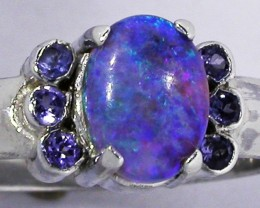 9 RING SIZE OPAL + TANZANITE RING SILVER -FACTORY [SOJ2952]