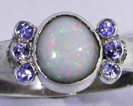 8.5 RING SIZE OPAL + TANZANITE RING SILVER-FACTORY [SOJ2954]