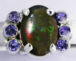 7.5 RING SIZE OPAL + TANZANITE RING SILVER-FACTORY [SOJ2955]