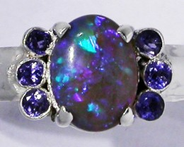 7 RING SIZE OPAL + TANZANITE RING SILVER -FACTORY [SOJ2961]
