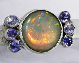 8.5 RING SIZE OPAL + TANZANITE RING SILVER-FACTORY [SOJ2962]