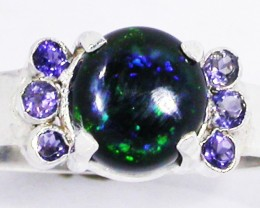 8.5 RING SIZE OPAL + TANZANITE RING SILVER-FACTORY [SOJ2967]