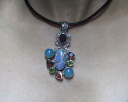 OPAL [STABILIZED} + ASSORTED GEM STONES PENDANT [SOJJ7 ]