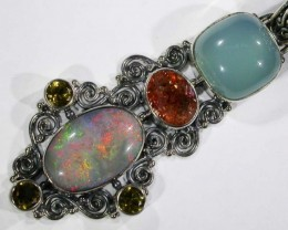OPAL [STABILIZED} + ASSORTED GEM STONES PENDANT [SOJJ17 ]