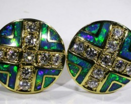 18 K GOLD INLAYED EARRINGS-DAVID FREELAND JNR[SAFE]