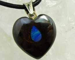 21 CTS SILVER inlay heart shape BOULDER OPAL PENDANT MMM 632