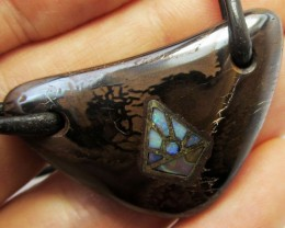 53.3CTS BOULDER OPAL PENDANT ON NECKLACE  MMM 652
