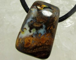 53.8CTS BOULDER OPAL PENDANT ON NECKLACE  MMM 671
