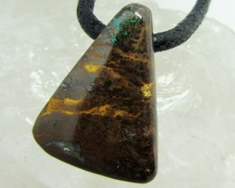 27.35CTS BOULDER OPAL PENDANT ON NECKLACE  MMM 677