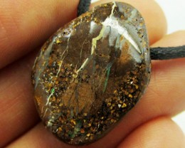21.25CTS BOULDER OPAL PENDANT ON NECKLACE  MMM 691