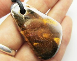 75.4CTS BOULDER OPAL PENDANT ON NECKLACE  MMM 697