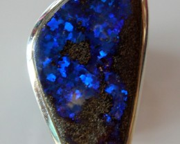 BEAUTIFUL AUSTRALIAN BIG BOULDER OPAL SILVER RING