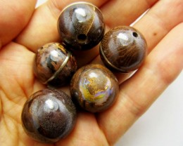 452 CTS  PARCEL  BOULDER  OPAL BEADS SILVER INLAY   MMM 884