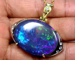 BREATHTAKING *GALAXY* BLACK OPAL 18K GOLD PENDANT SCO1237