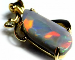 FIRE RED FLASH BLACK OPAL 18K GOLD PENDANT SCO1241
