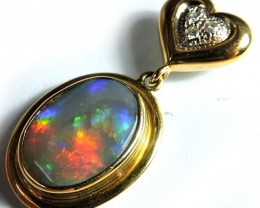 GORGEOUS RED FIRE COLOUR MIX BLACK OPAL 18K PENDANT SCO1249