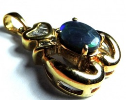 EXQUISITE DEEP BLUE FLASH BLACK 18K GOLD PENDANT SCO1250