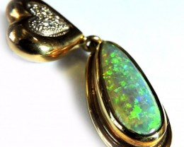 EXQUISITE FIRE COLOUR BLEND CRYSTAL OPAL 18K PENDANT SCO1251