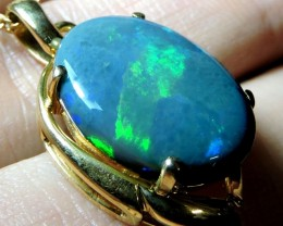 BEAUTIFUL GREEN FLASH BLACK OPAL 18K GOLD PENDANT SCO1278
