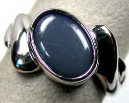 GREEN HUES BLACK OPAL STERLING SILVER RING SIZE 9 K565