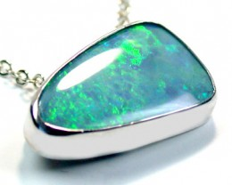 MULTI COLOUR DOUBLET OPAL 18K WHITE GOLD PENDANT SCO1342