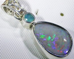 SOLID FOSSIL OPAL SILVER PENDANT-FACTORY DIRECT [SOJ3074]