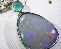 SOLID FOSSIL OPAL SILVER PENDANT-FACTORY DIRECT [SOJ3076]