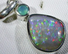 SOLID FOSSIL OPAL SILVER PENDANT-FACTORY DIRECT [SOJ3084]