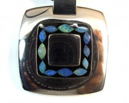 90.90 CTS  INLAY OPAL PENDANT STAINLESS STEEL    OF - 173