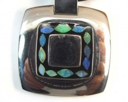 INLAY OPAL PENDANT STAINLESS STEEL  87.70 CTS   OF - 175