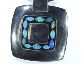 88.40 CTS   INLAY OPAL PENDANT STAINLESS STEEL  OF - 185