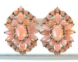 PERU PINK OPAL EARRING CLUSTER-SILVER  37.00  CTS  0F- 188