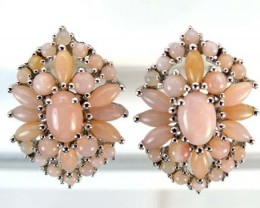 PERU PINK OPAL EARRING CLUSTER-SILVER   39.85 CTS  0F- 189