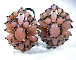 PERU PINK OPAL EARRING CLUSTER-SILVER  39.20  CTS  0F-200