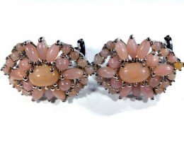 PERU PINK OPAL EARRING CLUSTER-SILVER   37.15 CTS  0F-199