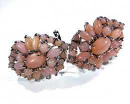 PERU PINK OPAL EARRING CLUSTER-SILVER  38.65  CTS  0F-198