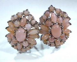 PERU PINK OPAL EARRING CLUSTER-SILVER  39.50  CTS  0F-195