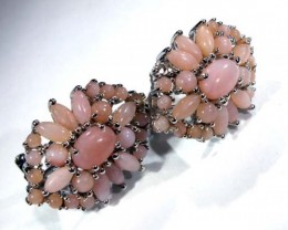PERU PINK OPAL EARRING CLUSTER-SILVER  38.60  CTS  0F-194