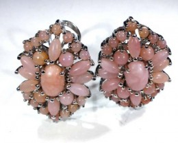PERU PINK OPAL EARRING CLUSTER-SILVER  37.70  CTS  0F-193