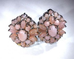 PERU PINK OPAL EARRING CLUSTER-SILVER  39.20  CTS  0F-192