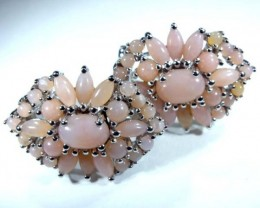 PERU PINK OPAL EARRING CLUSTER-SILVER  39.25  CTS  0F-191