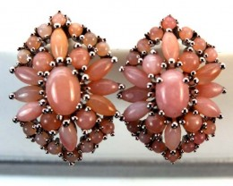 PERU PINK OPAL EARRING CLUSTER-SILVER  37.80  CTS  0F-241